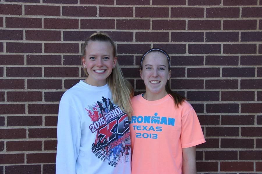 Coppell High School juniors Hannah Pridgen (left) and Emily Pridgen (right) are twins who are both on the CHS track team. Emily is a pole vaulter and Hannah is a long distance runner.