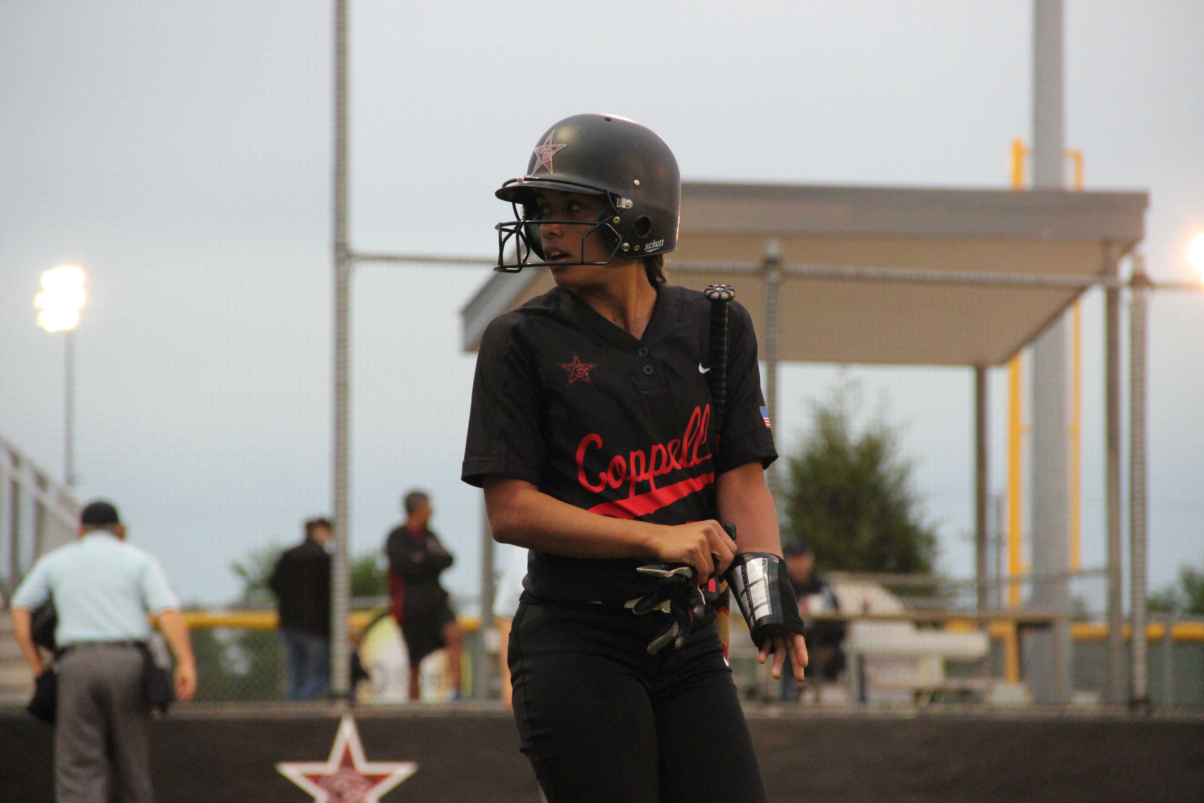 Senior rightfielder Julia Sircar prepares to get into the batter's box to hit in the first inning. The Cowgirls would fall to Richland 13-11.