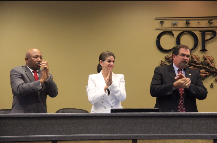 Coppell+City+Council+members+%28left+to+right%29+Marvin+Franklin%2C+Nancy+Yingling%2C+and+Mayor+Pro+Tem+Gary+Roden.