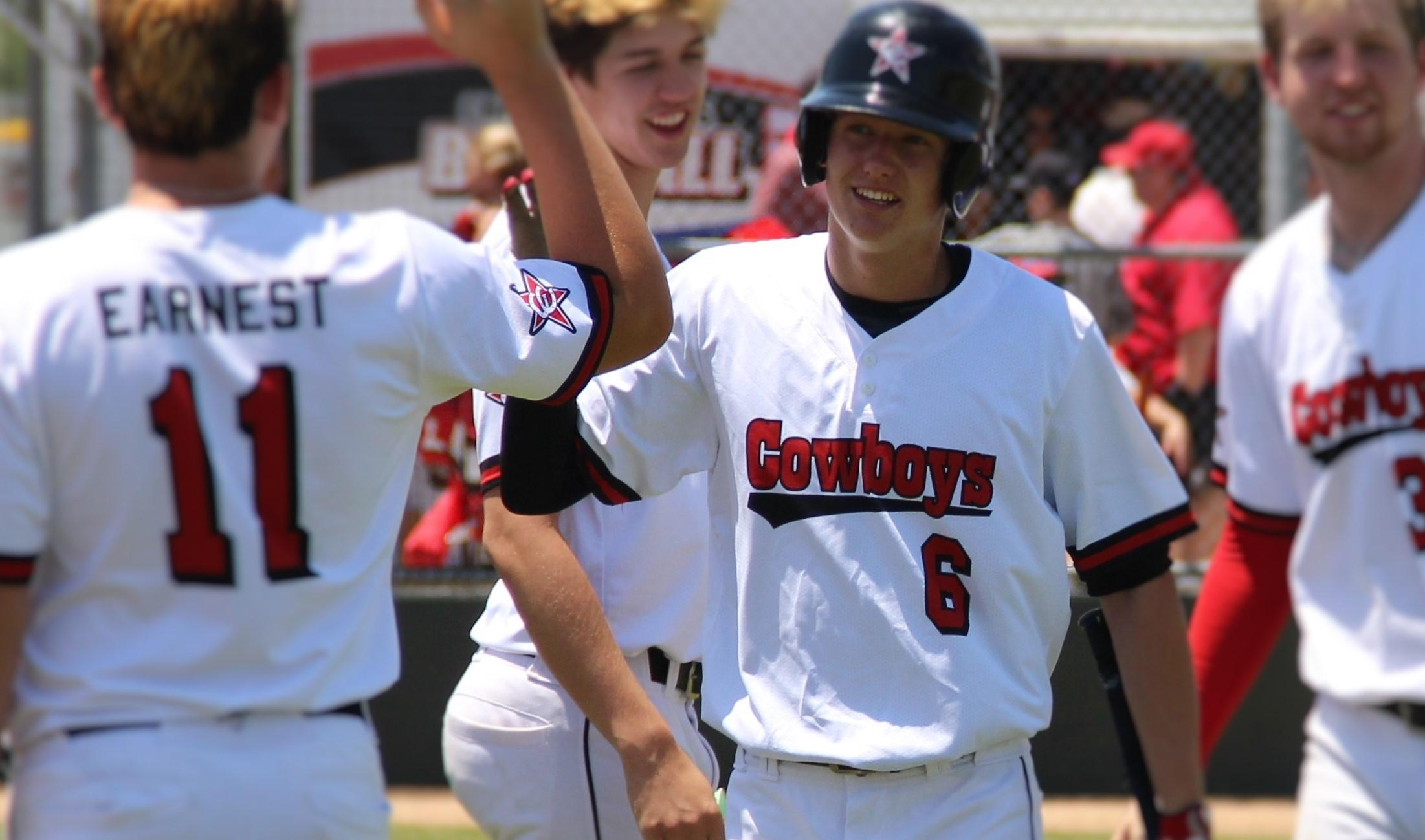 The Coppell High School varsity baseball team celebrates its win  against Duncanville High School on Saturday at the Coppell ISD  Baseball/Softball complex. The Cowboys will be taking on McKinney Boyd  High School Thursday, Friday and Saturday (if necessary) in the area  round of the playoffs.