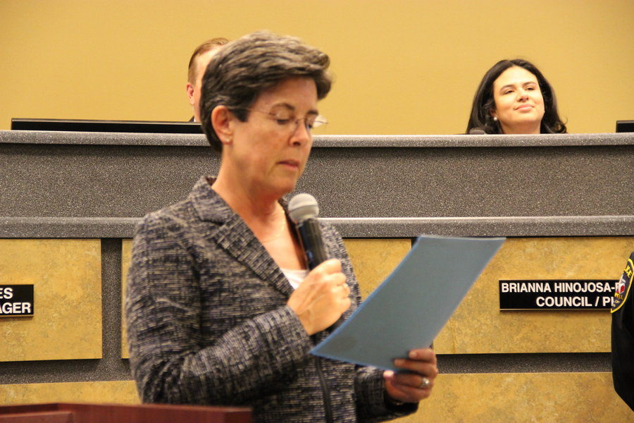 Coppell Mayor Karen Hunt addresses citizens during a City Council meet in Oct. 2015.