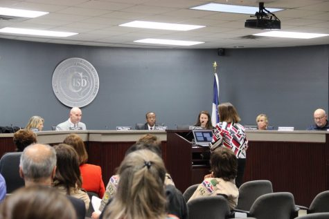 CISD Coordinator of Assessment and Accountability Susie Williams explains a chart displaying STAAR/EOC results for each grade at the Monday night's board meeting at Coppell ISD building. Susie Williams gives explanations on what will happen next if students need to retake STAAR.