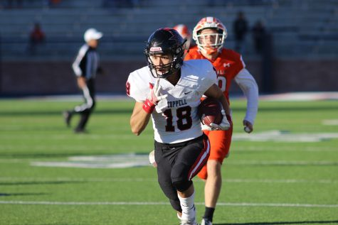 Senior wide receiver Matt Dorrity gets away from the Rockwall defense for a score late in Coppell's 29-25 victory. Dorrity had his best game of the year, catching four passes for 135 yards and two touchdowns.