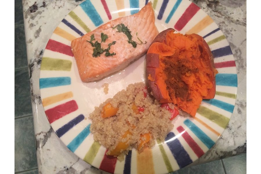 This+simple+and+sweet+salmon+recipe+with+roasted+red+peppers+and+baked+sweet+potatoes+can+be+completed+in+under+an+hour.+This+recipe+uses+only+healthy+ingredients+and+you+can+taste+the+difference.+Photo+by+Aubrie+Sisk.