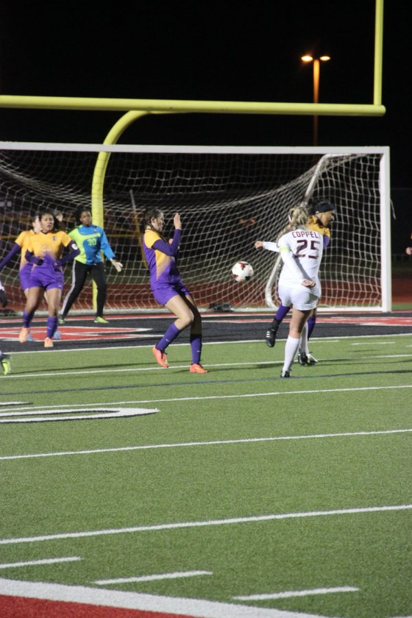 Coppell+High+School+junior+midfielder+Tyler+Runnels+shoots+the+ball+into+the+goal+during+Tuesday%27s+night+game+against+Richardson.+Coppell+claimed+a+5-0+win+over+Richardson+at+Buddy+Echols+Field.
