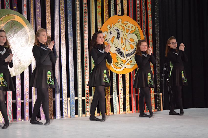 Coppell+High+School+freshman+Danielle+MacMaster+%28center%29+performs+a+traditional+Irish+dance+at+the+North+Texas+Irish+Festival+2017+on+Saturday.+MacMaster+has+been+dancing+for+the+Inishfree+School+of+Irish+Dance+since+she+was+8
