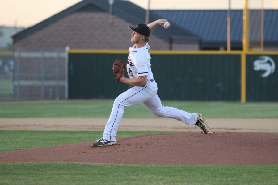 Coppell High School senior Trey Beccera pitches during the first inning of the game against Lake Highlands on Friday night. Coppell won 14-1 at the Coppell Baseball Complex.