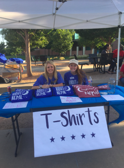Night For Nepal's fundraiser took place at Town Center Elementary last Saturday evening. Coppell High School  juniors Avery Zaves and Kristen Lason wore their Night Nepal shirts during the fundraiser as they were in charge of the T-shirt booths.