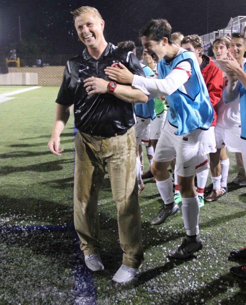 Coppell soccer coach Chad Rakestraw is embraced by junior forward Wyatt Priest after the UIL Class 6A state championship in 2016. Rakestraw will leave the Coppell program to coach at Flower Mound Marcus in the 2017-2018 school year.