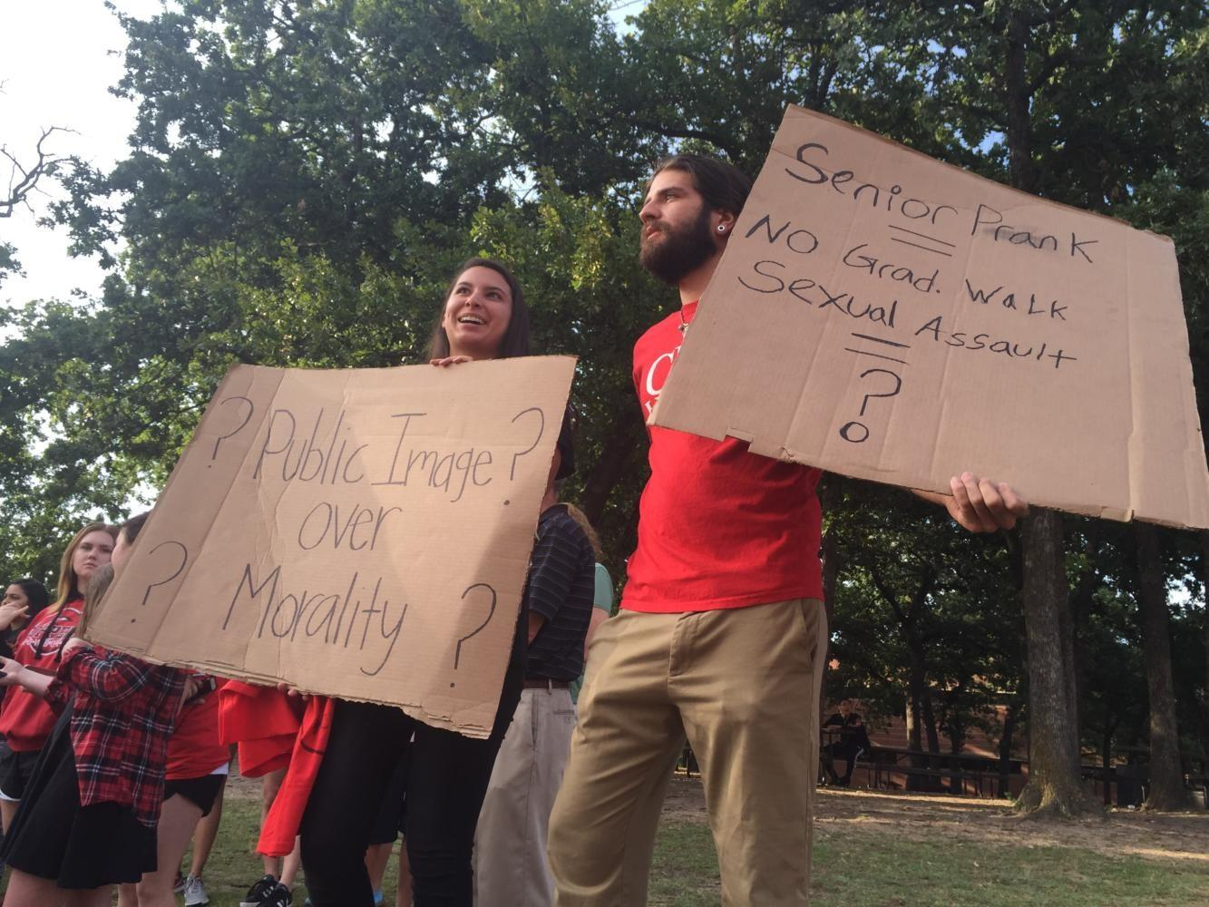 Demonstrators gather outside CHS to show support of victim of alleged campus incident
