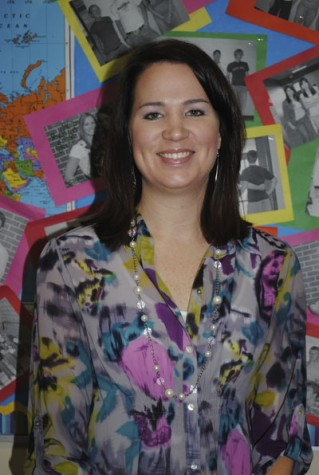 Coppell welcomes the new cheerleading coach Tiffany Ganss, wishing her a good year. Photo by Rachel Bush.