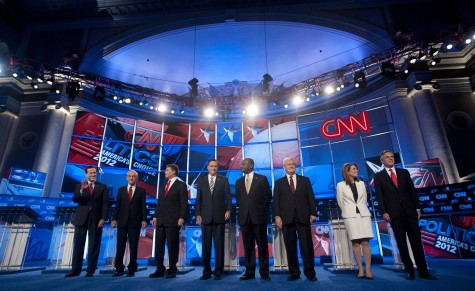 Rick Santorum, from left, Texas Rep. Ron Paul, Texas Governor Rick Perry, Mitt Romney, Herman Cain, Newt Gingrich, Minnesota Rep. Michele Bachmann and Jon Huntsman attend the Republican presidential debate at DAR Constitution Hall in Washington, D.C., Tuesday, November 22, 2011. (Olivier Douliery/Abaca Press/MCT)