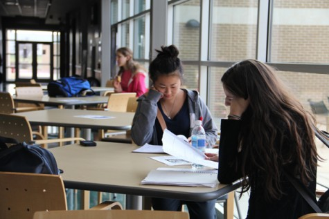 Senior's Ashley Liu and Melissa Trevino utilize the north campus to knock out as many college credits as possible before they leave for college. Photo by Jack Ficklen