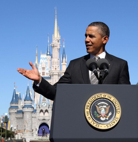 President Barack Obama delivers remarks in front of Cinderella Castle in the Magic Kingdom at Walt Disney World, in Lake Buena Vista, Florida, Thursday, January 19, 2012. (Joe Burbank/Orlando Sentinel/MCT)