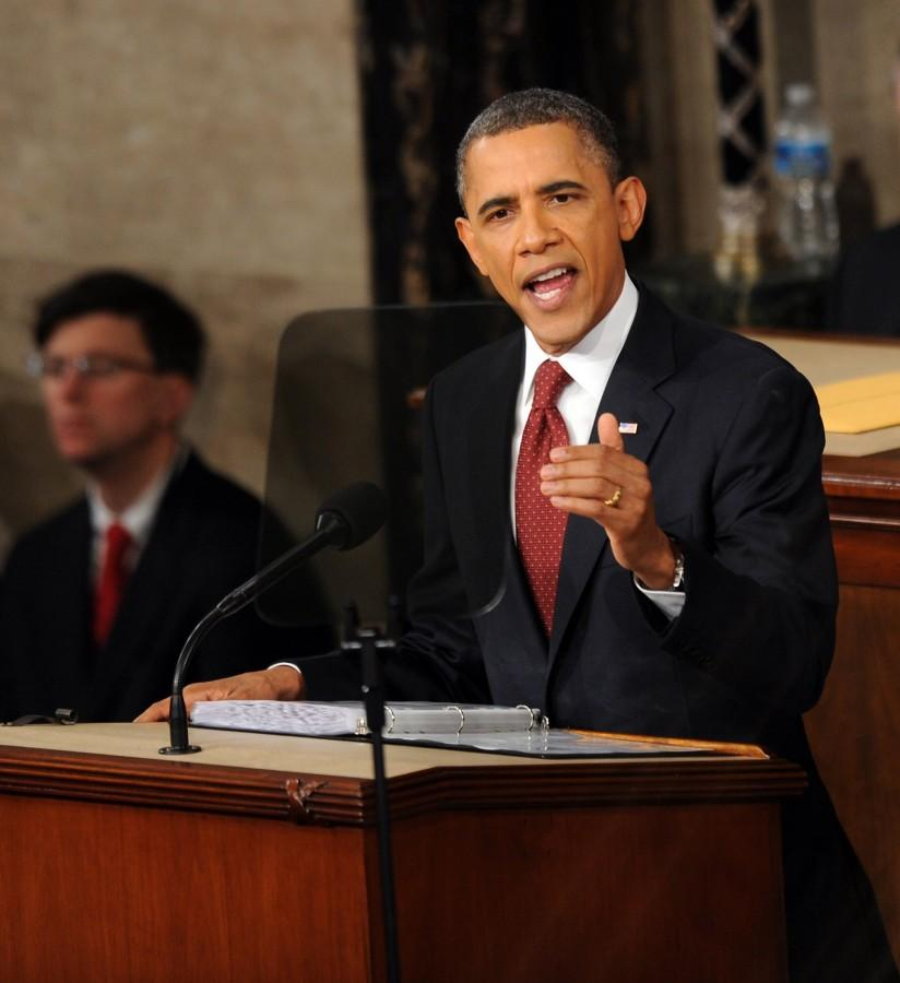 U.S. President Barack Obama gives the State of the Union address before a joint session of Congress, Tuesday, January 24, 2012, in Washington, D.C. (Olivier Douliery/Abaca Press/MCT)