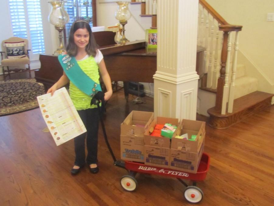 Madeline McGregor sold almost 900 boxes of Girl Scout cookies, making her the top cookie seller in the Coppell and Valley Ranch area for the second year in a row. Photo by Mary Whitfill.