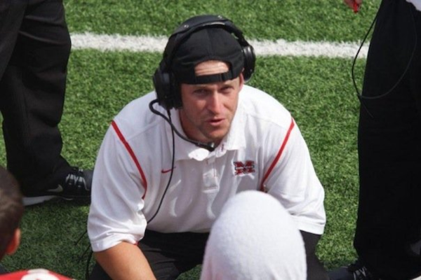 Former Barbers Hill offensive coordinator Michael Odle coaching at Flower Mound Marcus High School. Odle was the quarterback of the 1996 state championship team. Photo courtesy of Michael Odle.