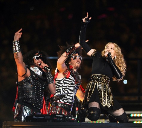 Madonna performs during the halftime show for Super Bowl XLVI on Sunday, February 5, 2012, at Lucas Oil Stadium in Indianapolis, Indiana. The Giants defeated the Patriots, 21-17. (Lionel Hahn/Abaca Press/MCT)