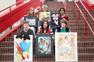 AP Art students selected for the 2012 Young Masters exhibition include: (From left to right) Front row: Ian Maley, Michelle Yi, Austin Huens Back row: Christina Wagner, Andy Scott, Jahnavi Udaikumar. The final four finalists for Young Masters are Austin Huens, ian christina michelleTheir artwork will be on display at the Dallas Museum of Art on February 5 through April 8, 2012.