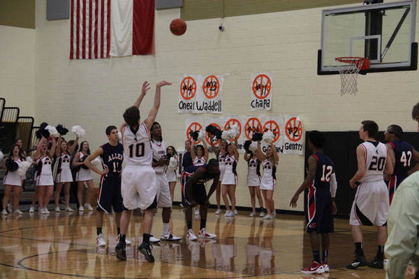 Jett Raines takes a free throw in their first playoff game against the Allen Eagles on Tuesday. Photo by Jack Ficklen