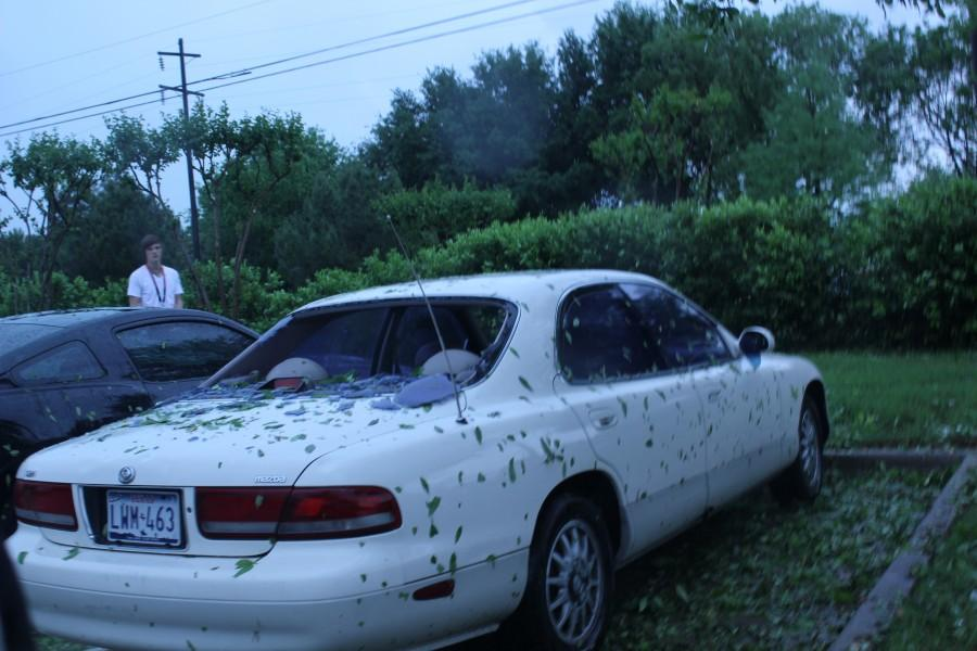 Photo courtesy Blake Bryan. Large hail at New Tech High School, shattered many windshields on Tuesday. Including the car of sophomore Blake Bryan.