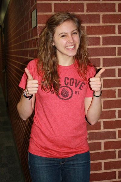 Senior Anna Nudo is ecstatic about being selected to be a Baby Ruth this summer at Pine Cove. Photo by Jodie Woodward