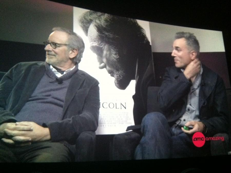 Steven Spielberg and Daniel Day-Lewis answer questions via satellite in a Q&A session after the advanced screening of