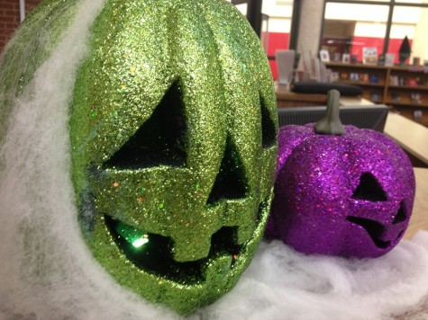 Librarians check out the Halloween spirit