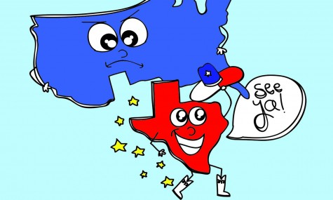Radical Texans petition to secede from the United States in a spur of the moment decision after the recent election.  Graphic by Sophie Nauyokas