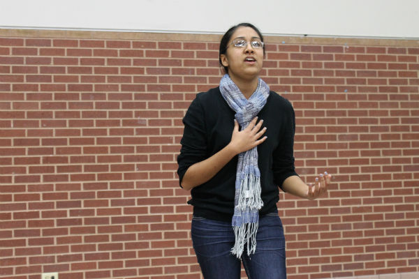 Senior Khadijah Adenwala auditioned for Heritage Night by singing 'What Makes You Beautiful' by One Direction. Heritage Night, hosted by the Junior World Affairs Council, will be Friday night, February 15th. Photo by Rinu Daniel.