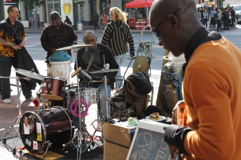 Street musicians Larry Hunt and Edward Jackson performing for tourists and citizens. Photo by Stephanie Alexander