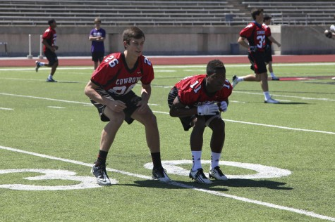 Sophomore cornerbacks Jacob Murray and junior Troy Parker battle against each other during a spring practice