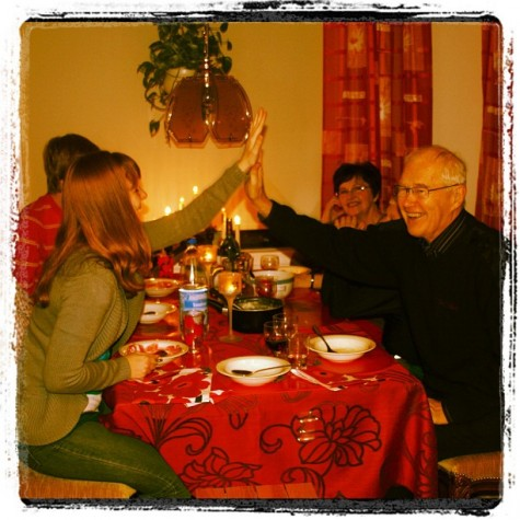 Me and my grandfather recreating our high five with my grandma looking on from the back during our Christmas feast on Christmas Even in 2010 at my grandparents' home in Oulu, Finland.
