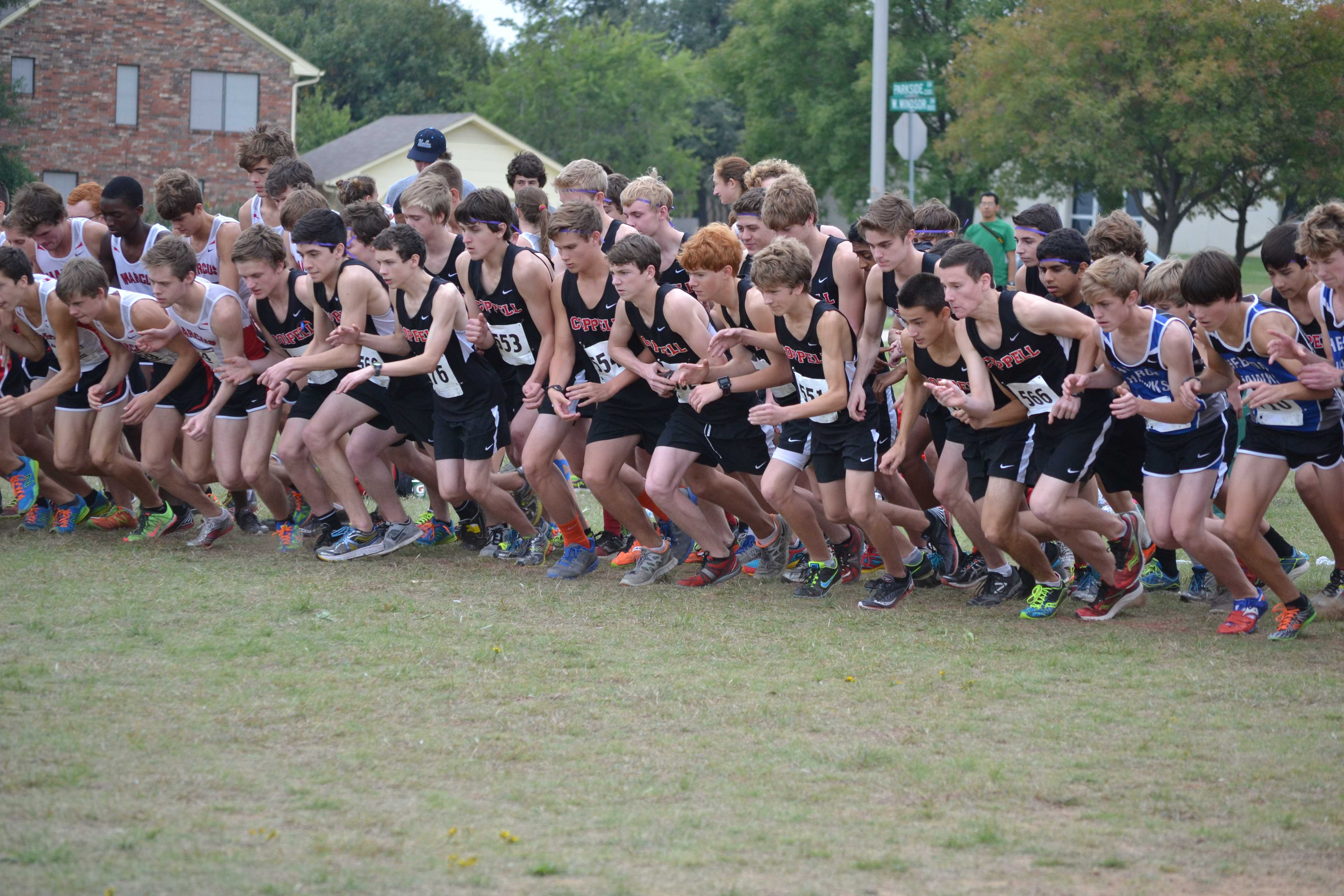 The JV boys went into a tiebreaker for third place with Flower Mound, and senior Chandler Moake's time put them ahead. Photo by Elizabeth Sims
