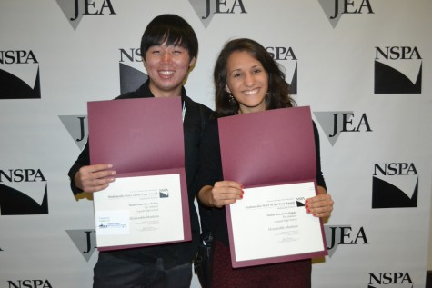 Senior Hamin Kim (left) and 2013 Coppell High School graduate Erica Rohde (right) show off their honorable mention certificates for Multimedia Feature Story of the Year. Photo by Elizabeth Sims.