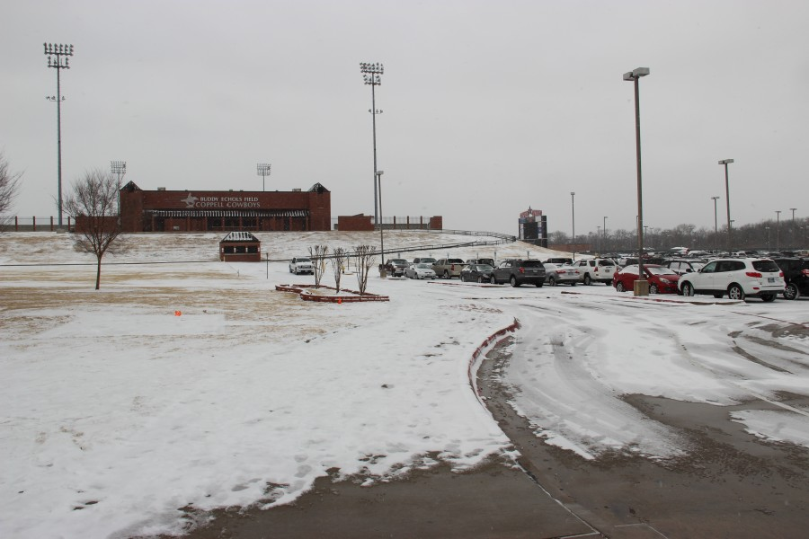 Feb. 6, On Thursday, Coppell was hit with snow flurries covering the campus in white. School continued as usual all day. Photo by Sandy Iyer.