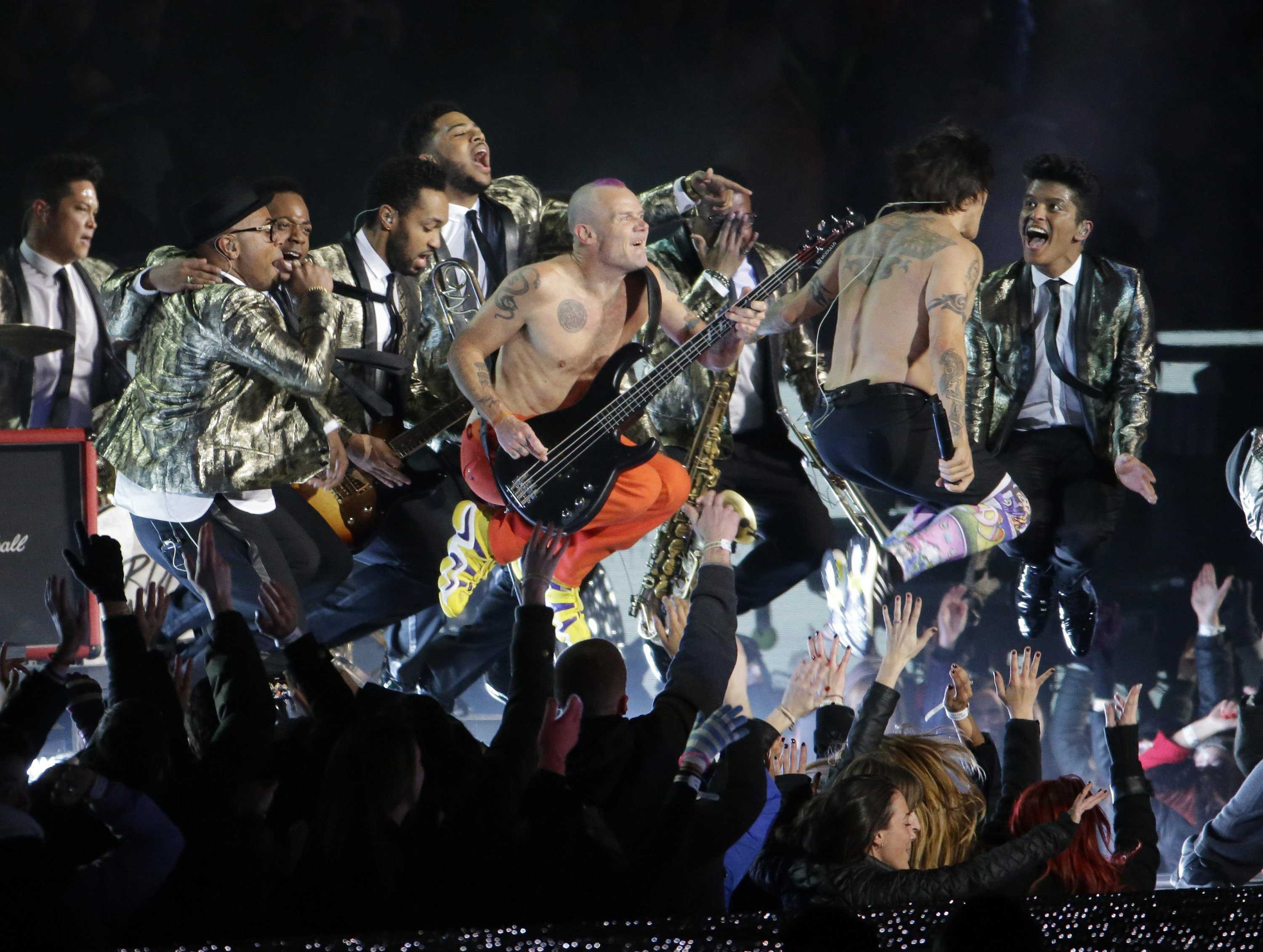 The Red Hot Chili Peppers join Bruno Mars as they perform at halftime during Super Bowl XLVIII at MetLife Stadium in East Rutherford, N.J., on Sunday, Feb. 2, 2014. (J. Patric Schneider/MCT)