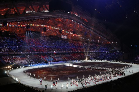 Athletes from Russia march during the Opening Ceremony for the Winter Olympics at Fisht Olympic Stadium in Sochi, Russia, Friday, Feb. 7, 2014. (Brian Cassella/Chicago Tribune/MCT)