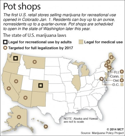U.S. map shows status of marijuana decriminalization laws across the states; Colorado has become the first state to sell the drug for recreational use. MCT 2014