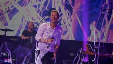 Chris Martin of Coldplay enjoying the show. Photo courtesy of Martha Vertti.