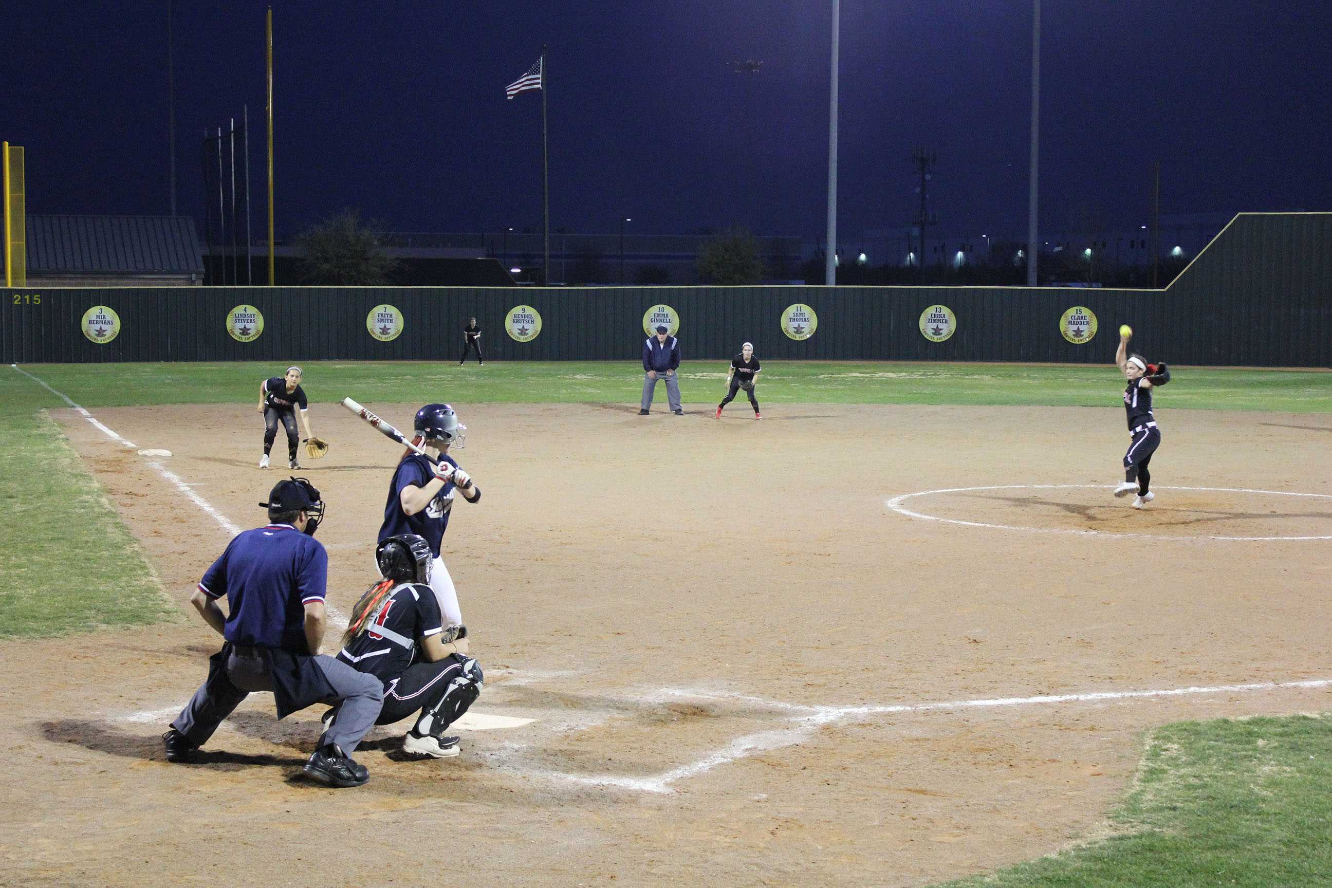 Lindsay Shaw pitches a strike against Marcus in a previous game. Photo by Mark Slette.