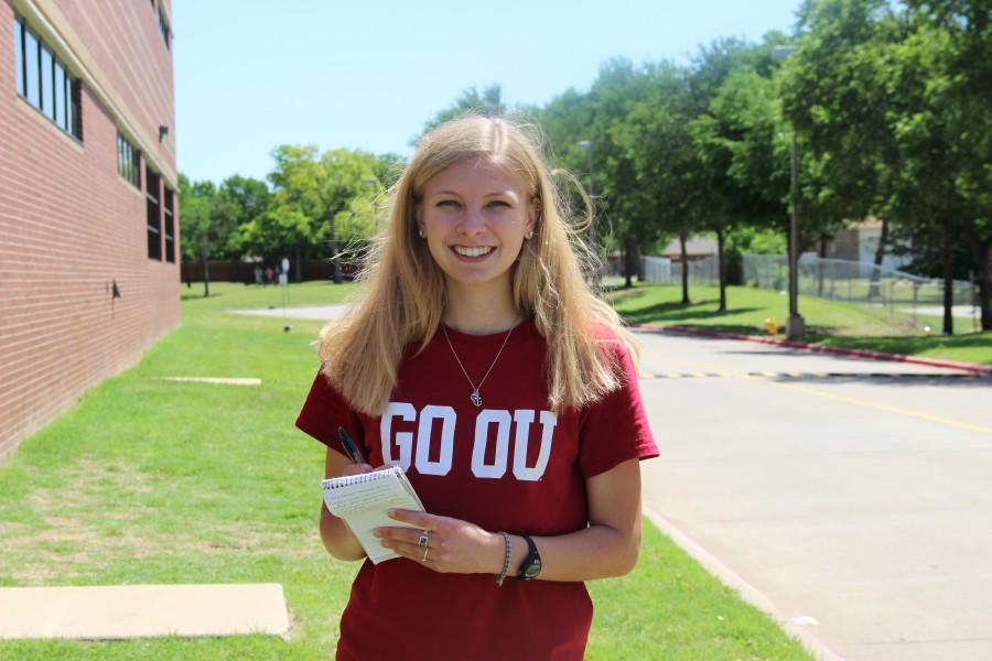 Senior Elizabeth Sims is the enterprise editor of The Sidekick newspaper. She will attend the University of Oklahoma in the fall to study journalisms. Photo by Sandy Iyer.