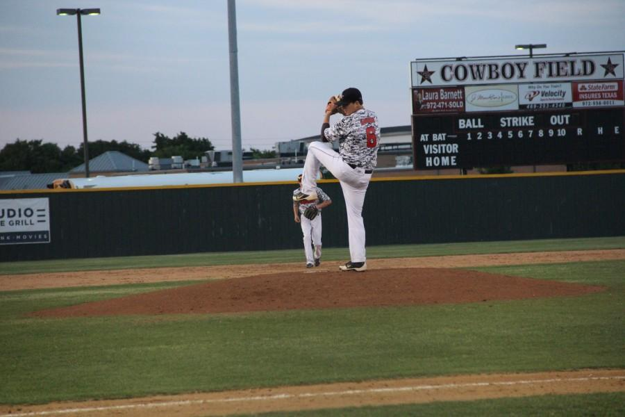Coppell pitcher Drew Hanson threw six innings with four strikeouts in the first game against Irving Nimitz to win 5-4 on Thursday, May 1