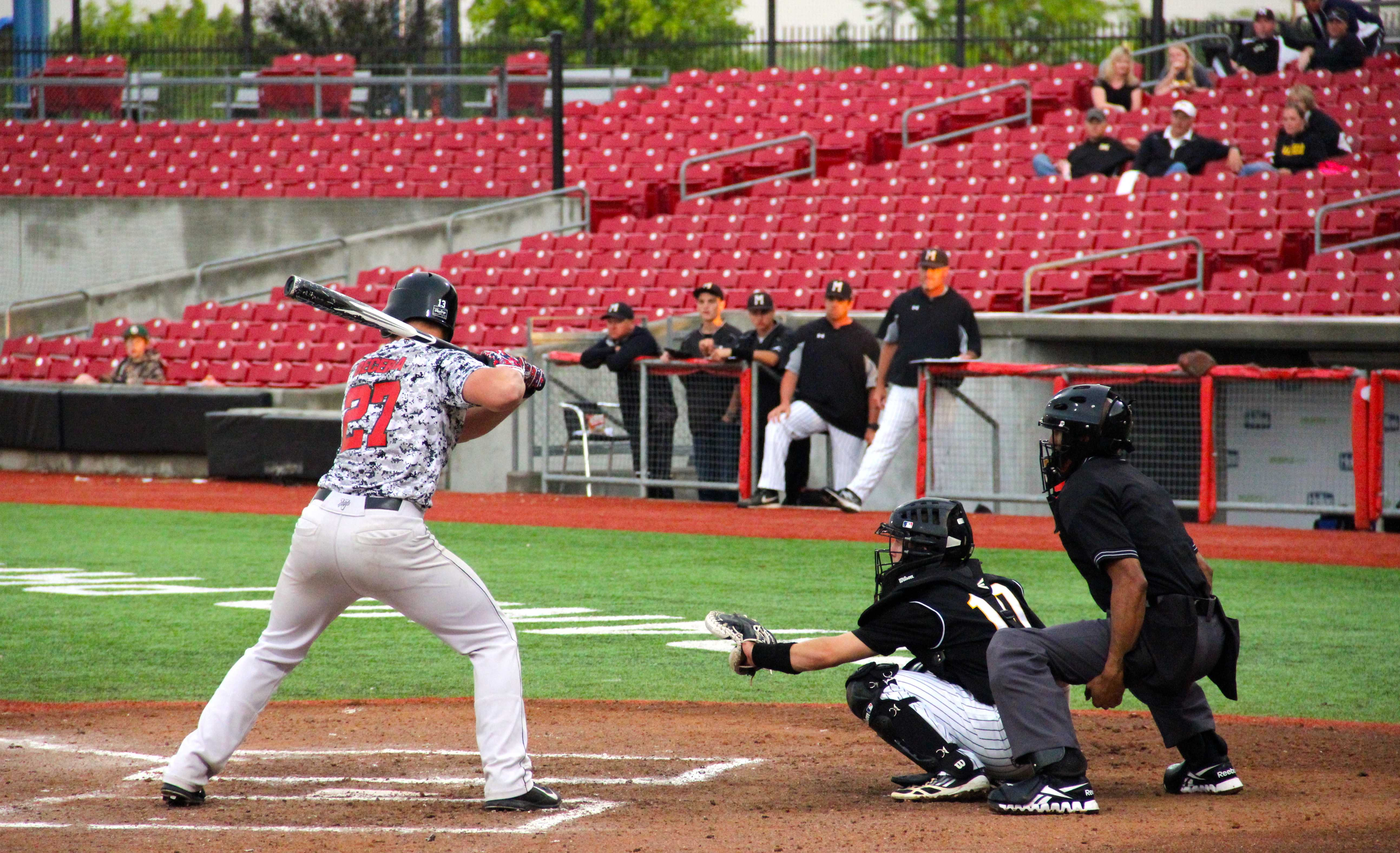 Freshman designate hitter Trey Bercerra at-bat for the Cowboys in their 4-0 loss to Mansfield on Thursday, May 8. Photo by Shannon Wilkenson