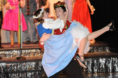 The prom king and queen  decided by the crowd were Blake, played by sophomore Ryan Storch and Inga played by sophomore Macy Johnson. Photo by Sarah Vanderpool.
