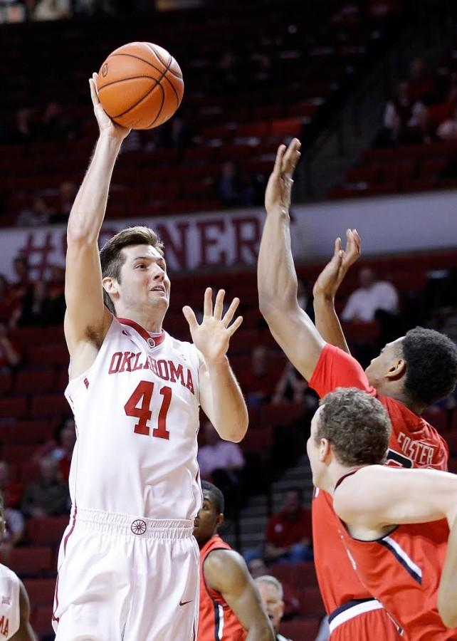 Sophomore forward Austin Mankin attempts a floater against Texas Tech at home on Jan. 28. Photo courtesy Mike Houck.
