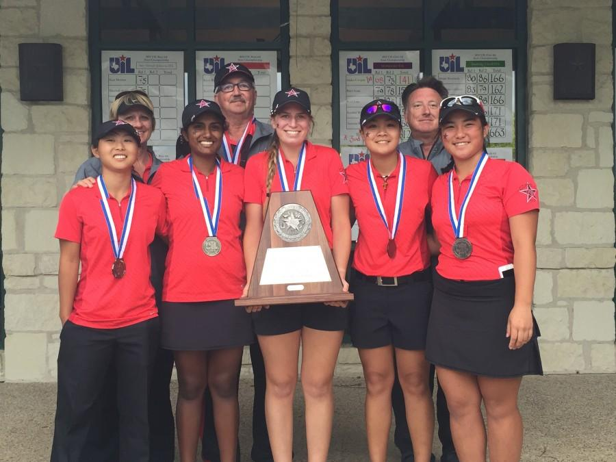 The five members of the girls varsity team pose with its second place state title at the University of Texas Golf Club in Austin, TX. It is the first title in the golf program at CHS. Photo courtesy Jan Bourg.