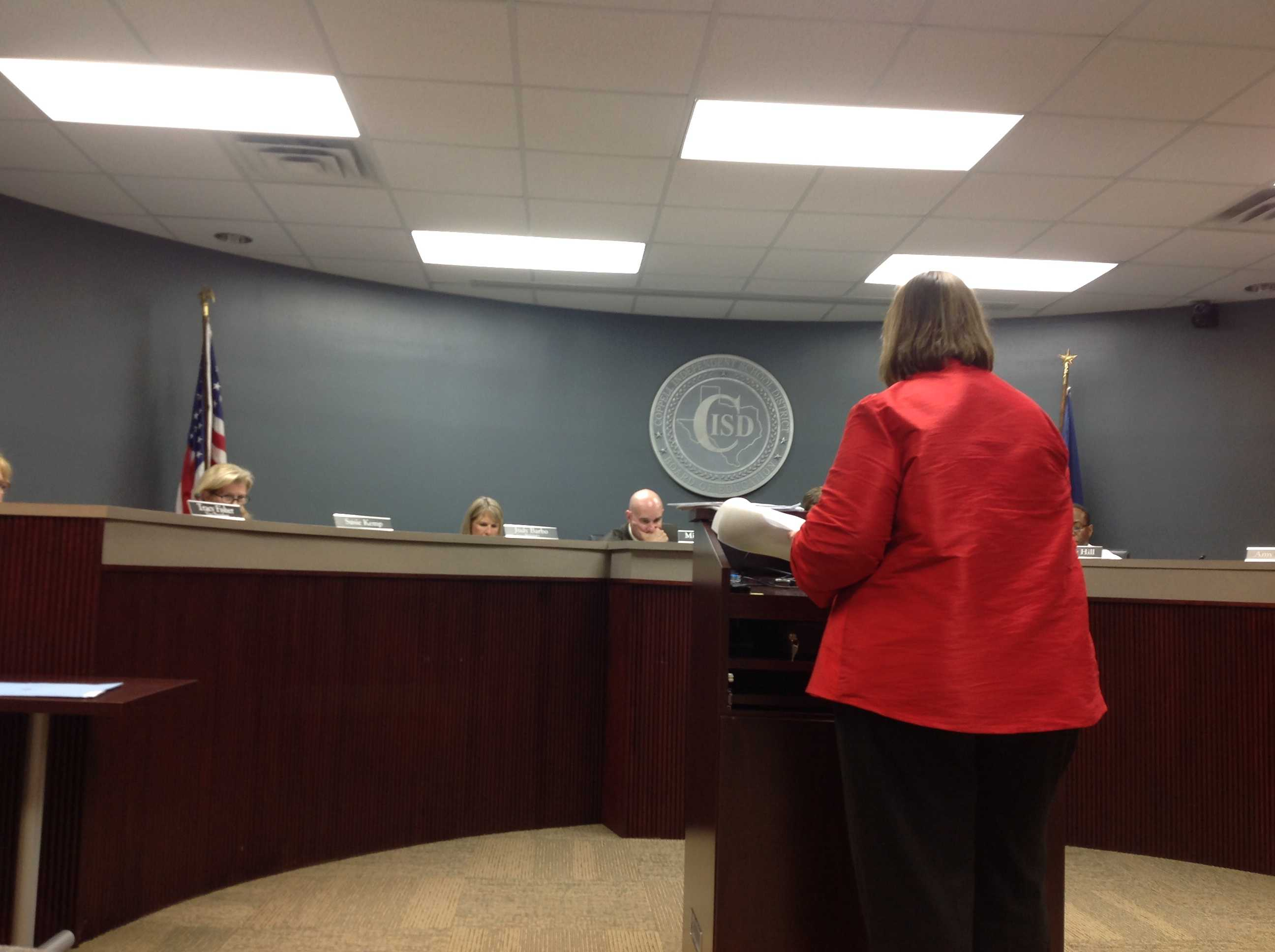 Director of Assessment Debbie Youngs talks to the school board about the status of STAAR test scores.