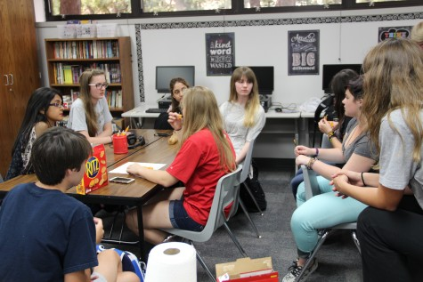 Members of Coppell High School's gay straight alliance (GSA) club discuss the dress up days for an upcoming spirit week in celebration of the LGBT+ community at the GSA club's meeting on Sept. 28. Although the meeting was led by the GSA club's officers, senior president Renee LeGros and junior vice president Megan Bauer, the club encourages an open discussion among all members.