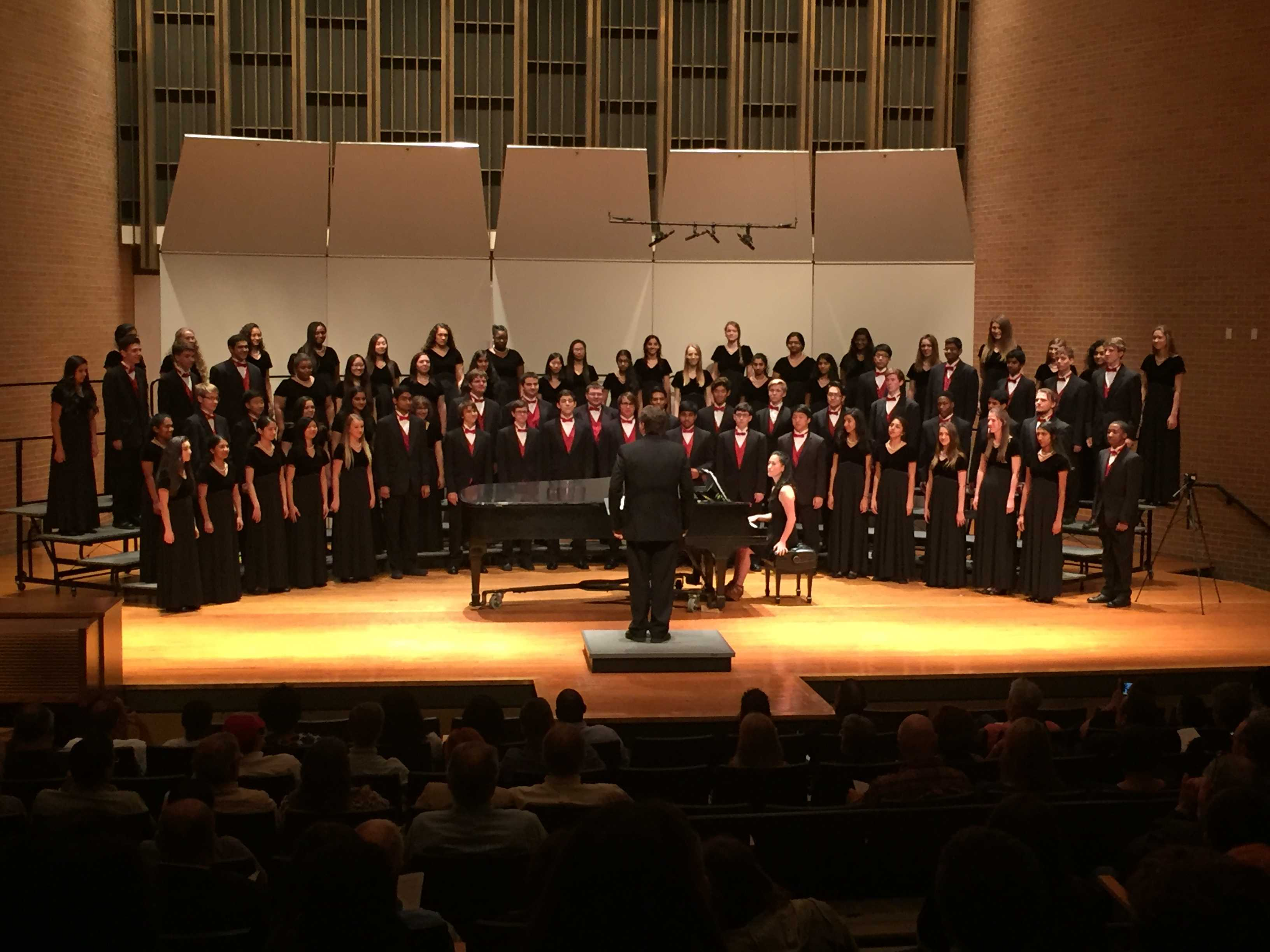The Coppell High School A Cappella choir performs at UT Arlington on Oct. 6. The choir performed alongside the university's own A Cappella choir. Photo courtesy CHS Choir Director Joshua Brown.